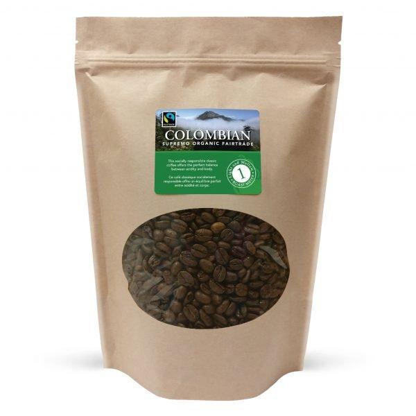 Colombian fairtrade whole bean coffee, 1lb 1