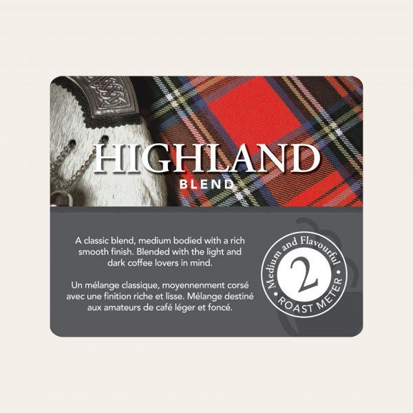 Highland blend ground coffee, 1lb 2